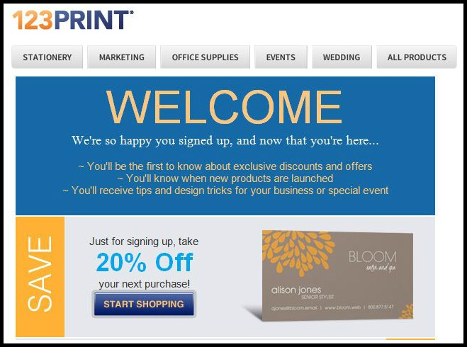Welcome Email from 123Print