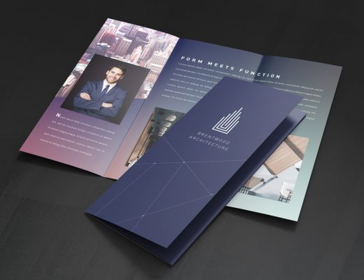 A tri-fold brochure in deep tones of purple and blue is presented both open and closed. A business man is pictured on the inside with his arms crossed against a city background.