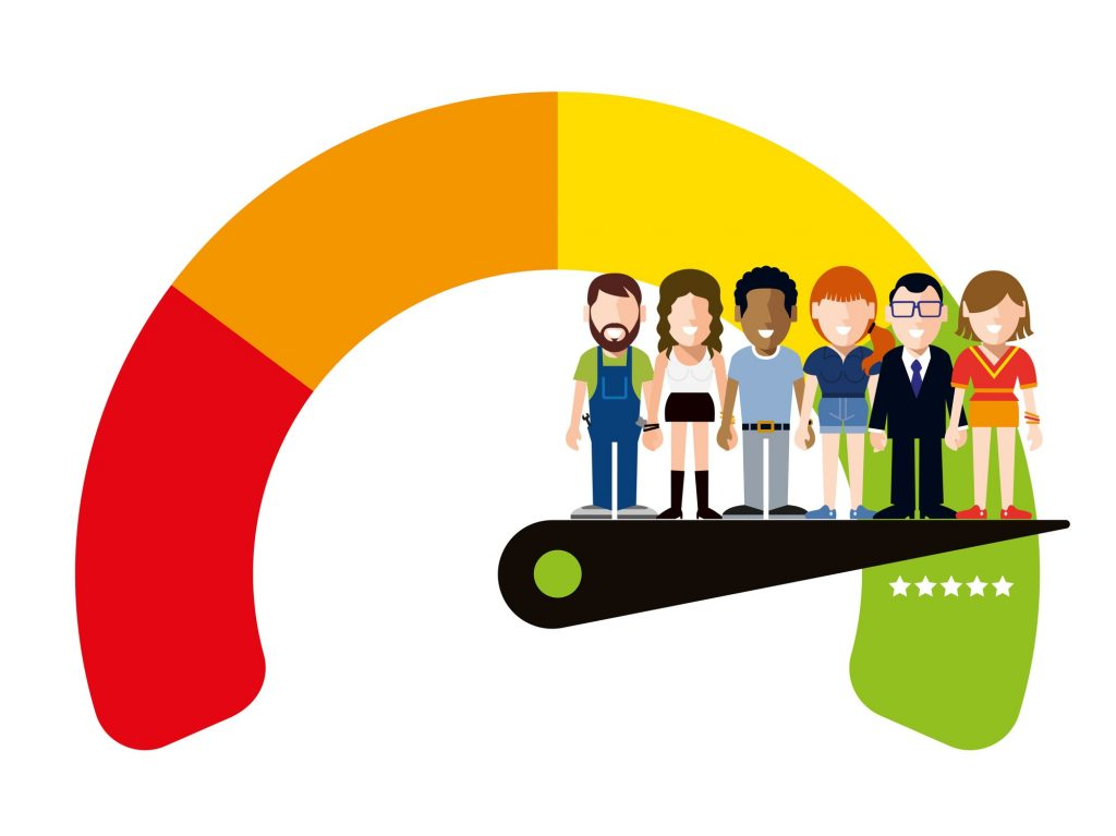 Vector Illustration of some Happy Multi-Ethnic Group Workers on a Satisfaction Five Stars Quality Meter